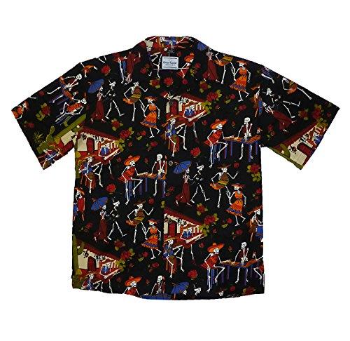 David-Carey-Original-Camisa-Hawaiana-Caballeros-XS-6XL-Manga-Corta-Bolsillo-Delantero-Estampado-Hawaiano-Da-De-Muertos-Esqueleto-Negro