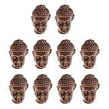 MagiDeal 10 Stück Buddha Kopf Anhänger Armbänder Schmuck DIY Erkenntnisse - Rotes Kupfer