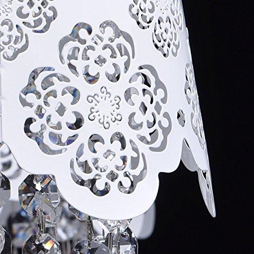 Deckenleuchte Kronleuchter weiß Metall Kristall klar Ø64cm - 7