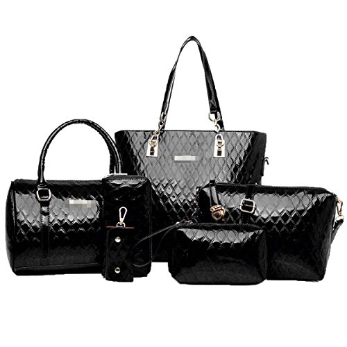 Damen Tasche 6 Stück Einkaufstasche Top-Griff Handtasche Helle Haut Set Black