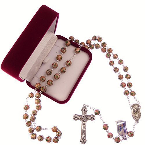 Catholic-large-pink-cloisonne-rosary-beads-silver-colour-chain-crucifix-in-box