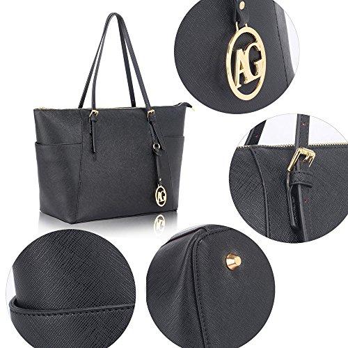 Frau Handtaschen Damen Groß Für Leinentrage Tasche Konstrukteur Imitat Leder Berühmtheit Stil Neu (C - Bräunen) Schwarz