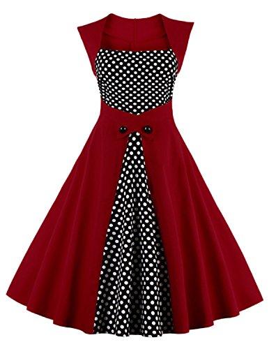 Modetrend Femmes des Années 50 Elégantes Robe À Pois Vintage Audrey Hepburn Style Rockabilly Swing Robe de Cocktail Rouge