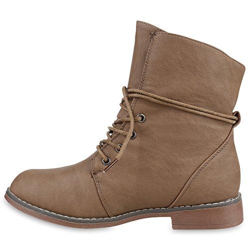 Damen Stiefeletten Worker Boots Schnürstiefel Warm Gefüttert Khaki Gefüttert