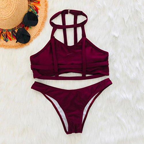 Angelof Bikini Push Up Rembourre Ado Fille Creux Femmes Bandage Plage Halter Bikini 2 Pieces Maillot de Bain Rouge