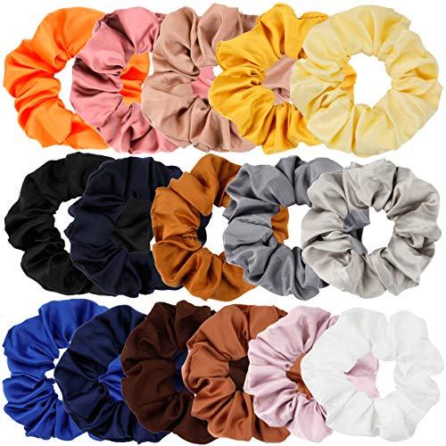 MojiDecor 16 Stück Haargummis Satin Haar Scrunchies Blumen Elastisches Haar Band Pferdeschwanz Halter für Frauen und ()