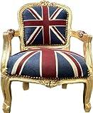 Casa Padrino Barock Kinder Stuhl Union Jack/Gold- Armlehnstuhl