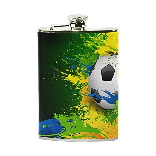 jeansame Personalisierte Flachmann Mini-Fläschchen Edelstahl 8oz für Frauen Herren Fußball Fußball Spiele Sport
