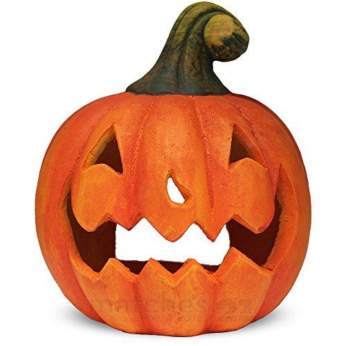 matches21 Jack O'Lantern Halloween Deko Kürbis Laterne Windlicht mit gruseliger Fratze Herbstdeko Halloweendeko 23x27cm aus Ton