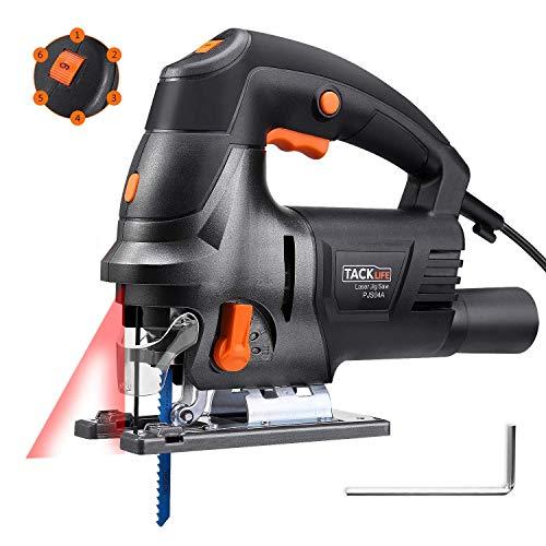 Stichsäge Alternativo, Tacklife 800 W Säge mit Laser, 6 Geschwindigkeiten, 800~3000 RPM, Schnitt -45o bis 45o, Kabel 3 m, Aluminium Boden, Adapter zum Absaugen, Schneiden aus Holz, Kunststoff PJS04A