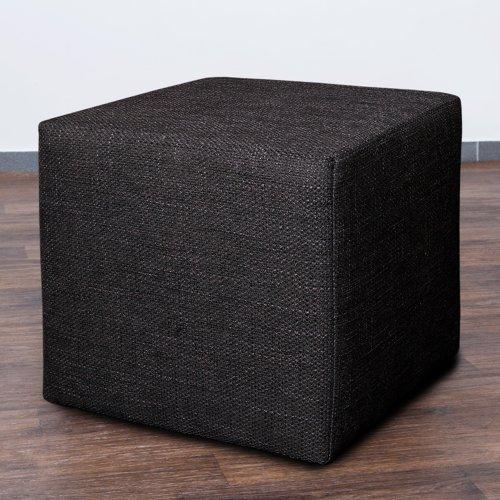Möbelbär 8009-08 Sitz-würfel  -hocker 45 x 45 x 45 cm, bezogen mit robustem Magma Webstoff, dunkelgrau  anthrazit