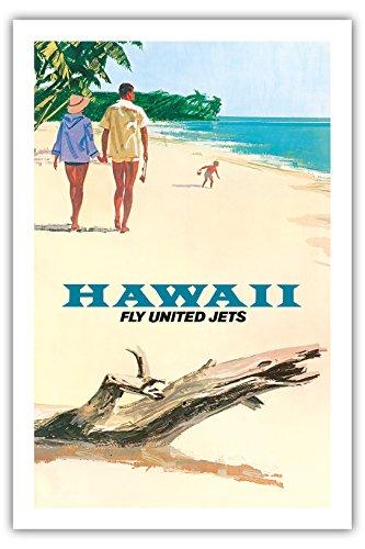 Pacifica Island Art Fliege mit United Airlines Düsenflugzeugen nach Hawaii - Alte Fluggesellschaft Reise Plakat Poster c.1960s - Premium 290gsm Giclée Kunstdruck - 61cm x 91cm - United Airlines Poster
