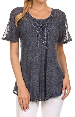 Sakkas 15783 - Ellie Pailletten Bestickte Kappen-Hülse mit Rundem Halsausschnitt Entspannt Passform Bluse - Denim Blau - One Size Plus (Bestickte Shirt Tunika)