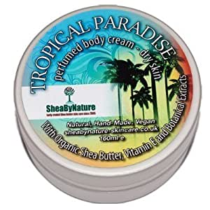 Tropical Paradise Fragrance Shea Butter Body Moisturiser with Cocoa Butter, Vitamin E and Aloe Vera, Intense Hydration for Dry Skin. Effective Body Moisturiser with Natural Oils (160ml) from SheaByNature