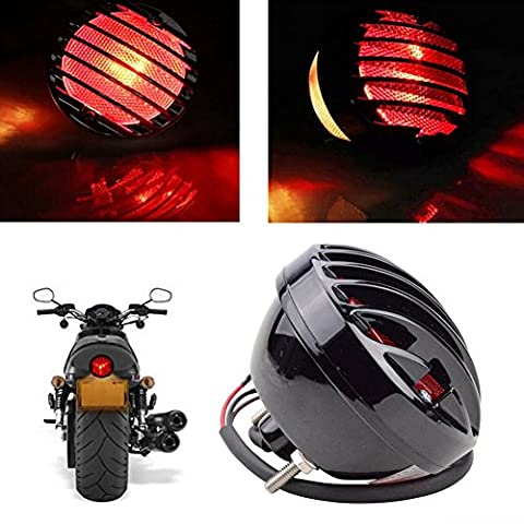 Katur Moto Queue de frein lumière Moto licence pour Suzuki Yamaha Harley Bobber Chopper Noir 12V
