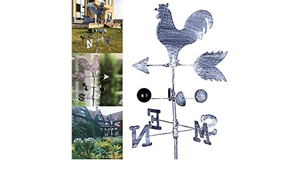 Guajave Traditional Rooster Weathervanes Iron Cock Wind Vane Wind Speed Direction Indicator Garden Yard