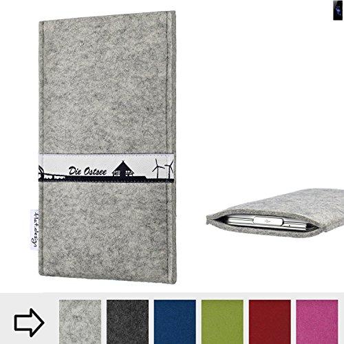 flat.design für Sony Xperia XZ2 Schutz Hülle Handy Case Skyline mit Webband Ostsee - Maßanfertigung der Schutztasche Handy-Tasche aus 100% Wollfilz (hellgrau) für Sony Xperia XZ2
