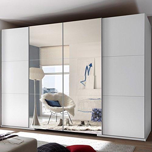 Stella Trading Big 4-türiger Kleiderschrank, Holz, weiß/spiegel, 117 x 315 x 225 cm