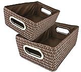 MamboCat Kela 2-tlg. Korb-Set RIMOSSA, Aufbewahrungsboxen, Regalkörbe, Flechtoptik braun, PP-Kunststoff, Badezimmer, Wohnraum-Accessoires, Deko