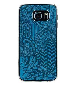PrintVisa Designer Back Case Cover for Samsung Galaxy S6 G920I :: Samsung Galaxy S6 G9200 G9208 G9208/Ss G9209 G920A G920F G920Fd G920S G920T (Blue and Black Fabric Texture)