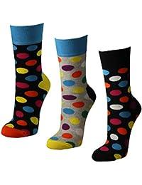 6 Paar Damen Socken mit farbigen Punkten in melange grau und schwarz