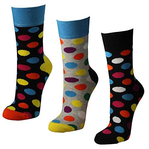 Lavazio 6 Paar Damen Socken mit farbigen Punkten in melange grau und schwarz, Farbe:mehrfarbig, Größe:35-38