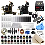ITATOO® Komplett-Set mit 2 Tattoo Guns Tattoo 20 Ink Tattoo 50 Tattoo Nadeln Spitzen Tattoo Griffe EU-Stecker (TK1000013)