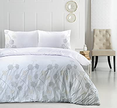 Janet Luxury Floral Embroidery Embroidered 180 Thread Count Percale Duvet Cover & Pillowcases Set - low-cost UK light store.