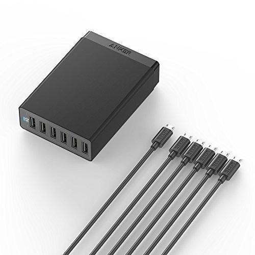 Anker PowerPort 6 (60W 6-Port USB Ladegerät) + [6-Pack] Premium 30 cm Micro USB Kabel für Samsung Galaxy S6 / S6 Edge, HTC, LG und weitere (Schwarz)