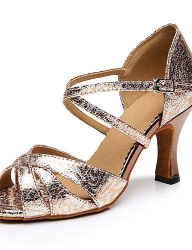 ShangYi Chaussures de danse(Autre) -Personnalisables-Talon Aiguille-Similicuir-Latine bronze