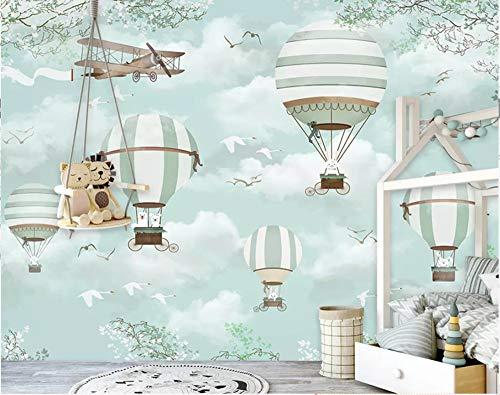 Preisvergleich Produktbild Große benutzerdefinierte Tapete Wandbild Cartoon Heißluft Ballon Flugzeuge Blauer Himmel Handgemalte Karikatur Kinder 3D Wallpaper,  400 × 280 Cm