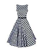 Lmeison Sleeveless Scoop Neck Vintage Tea Dress with Belt
