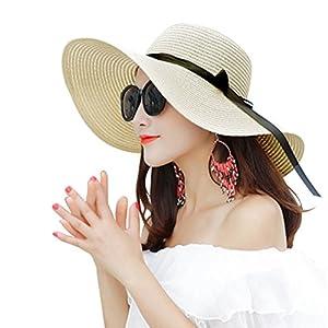 Cappelli da Sole Donna Cappello da Spiaggia Estate Cappello di Paglia Cappuccio di Protezione Solare cap Protezione UV 1 spesavip