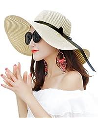 Cappelli da Sole Donna Cappello da Spiaggia Estate Cappello di Paglia  Cappuccio di Protezione Solare cap 25b3e6aea4fa