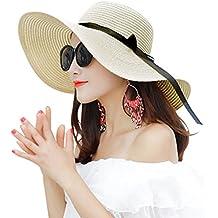 Cappelli da Sole Donna Cappello da Spiaggia Estate Cappello di Paglia  Cappuccio di Protezione Solare cap bd32c20c4c07