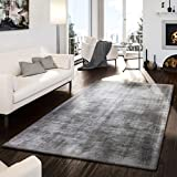 T&T Design Teppich Handgetuftet Modern Qualität Edel Viskose Garn Schimmer Glanz Grau, Größe:10x10 cm