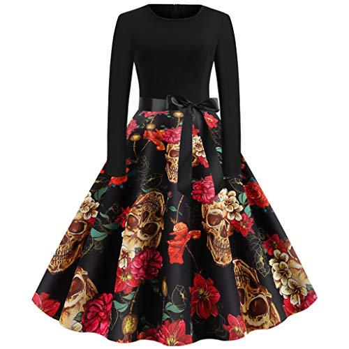 Plus Size Frauen Vintage Langarm Halloween 50er Jahre Hausfrau Abend Party Prom Kleid Cosplay Karneval Party weiblichen Anzug