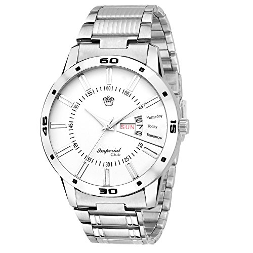 Imperial Club Exclusive Day & Date Display Analog White Dial Stainless Steel Men's Watch (wtm-065)