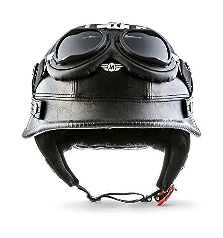 "MOTO · D33-Set ""Leather Black"" (Schwarz) · Jet-Helm · Mofa Motorrad-Helm Roller Retro Chopper Scooter-Helm · M (57-58cm)"
