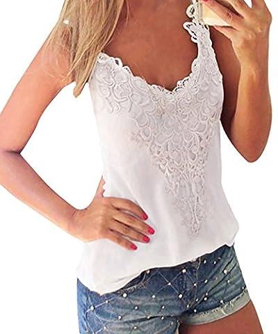 ISASSY Débardeur Femme en Coton Haut Camisole T-shirt Top Top avec Broderies Dentelle - Blanc - Taille