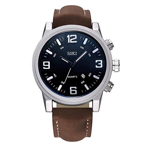 Keepwin Paar Art und Weiseylon Bügel Analoge Uhr, Unisexquarz Runde Kasten Armbanduhr (Brown)