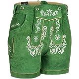 PAULGOS Damen Trachten Lederhose + Träger, Echtes Leder, Kurz in 8 Farben Gr. 34-50 M2, Damen Größe:44, Farbe:Grün