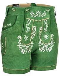 PAULGOS Damen Trachten Lederhose + Träger, Echtes Leder, Kurz in 8 Farben Gr. 34-50 M2