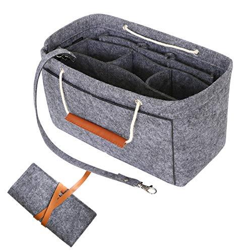 HyFanStr Handtaschen Organizer Filz, Taschenorganizer Bag in The Bag, Innentasche Handtasche Organizertasche für Handtaschen mit Geschenktüte, Tief Grau, Mittel -