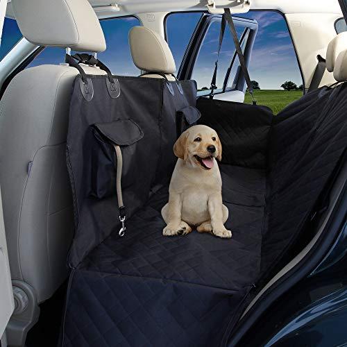 Hundedecke für Rückbank - wasserdichte Autoschondecke mit Seitenschutz, Taschen, Transportbeutel, Teilbare Hunde Sitzauflage, Weiche rutschfeste Schutzdecke + Gurtöffnung Auto Schutz Decke waschbar