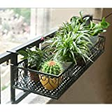 Livzing Iron Hanging Shelf Basket with Hooks, Balcony Flower Pot Plant Stand Holder Railing Shelf for Home Patio Porch…