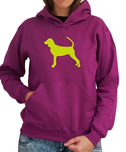 Felpa con Cappuccio da Donna Black and Tan Coonhound silhouette - Coonhound Silhouette