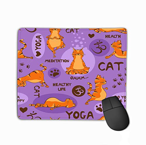 93fd4f05d0a85 Mouse Pad Seamless Pattern red cat Doing Yoga Position Funny Cartoon  Healthy Lifestyle Concept Rectangle Rubber