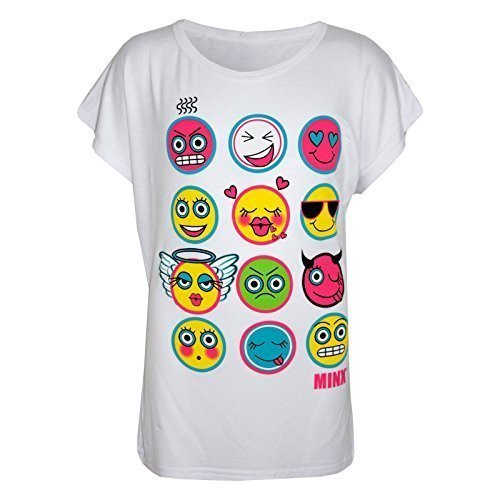 A2Z 4 Kids Enfants Filles T Shirt Emoji Emotions Imprimer - Emoji Top White 9-10 a2z4kids