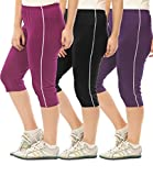 #8: Espresso Women's Casual Relaxed Fit Cotton 3/4th Capri Pants - Pack of 3